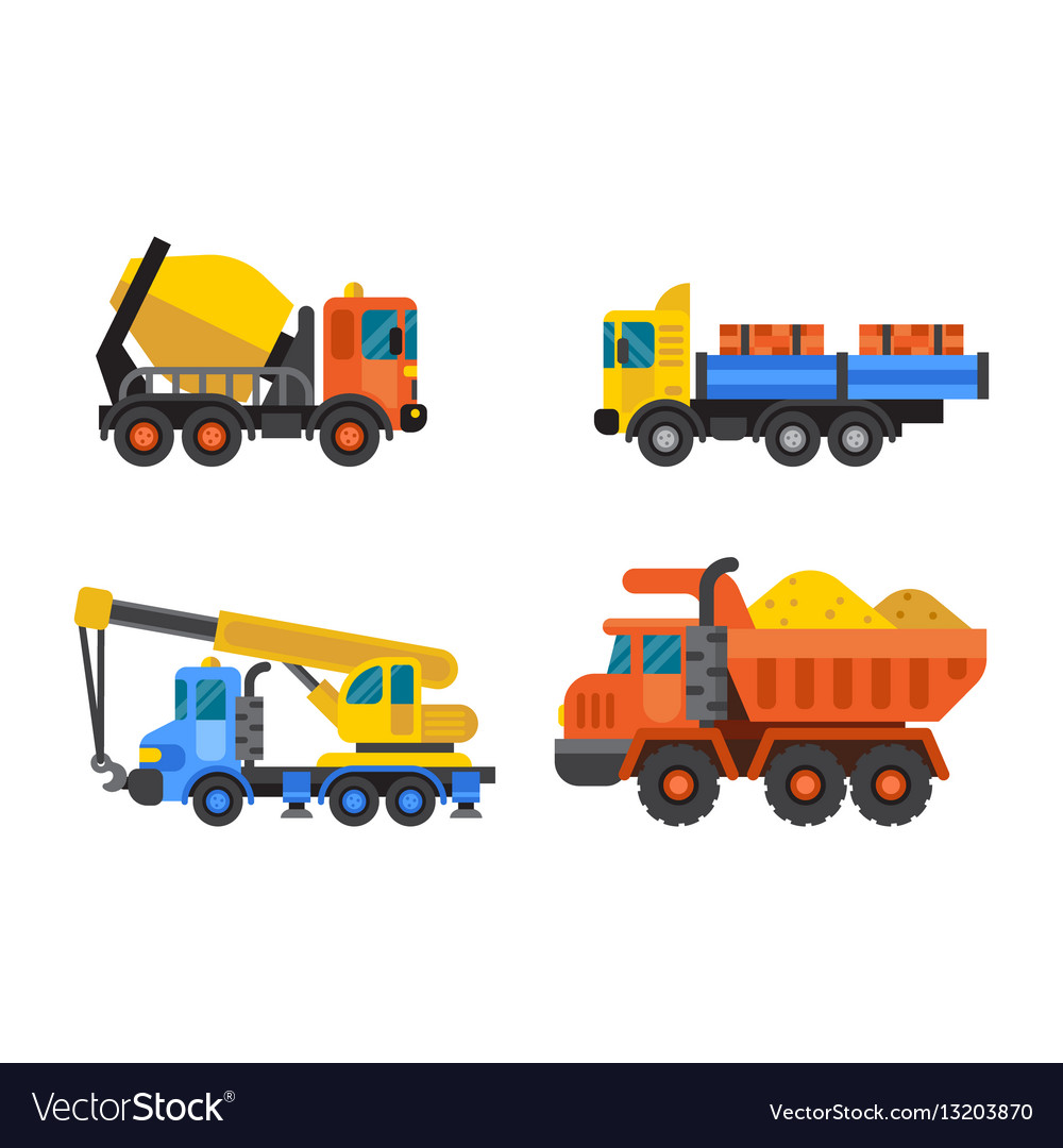 Tipper truck and construction crane industry vector image