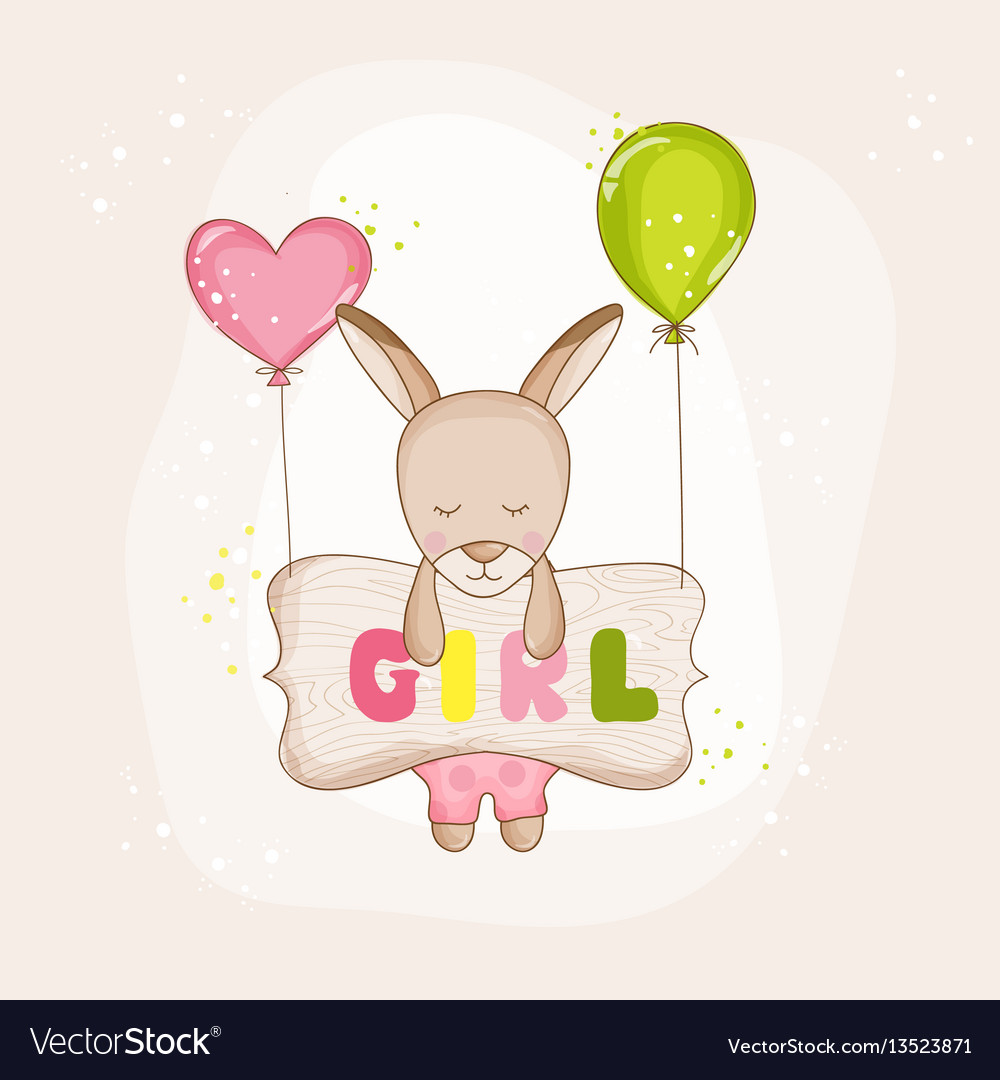 Baby girl kangaroo with balloons - baby shower vector image