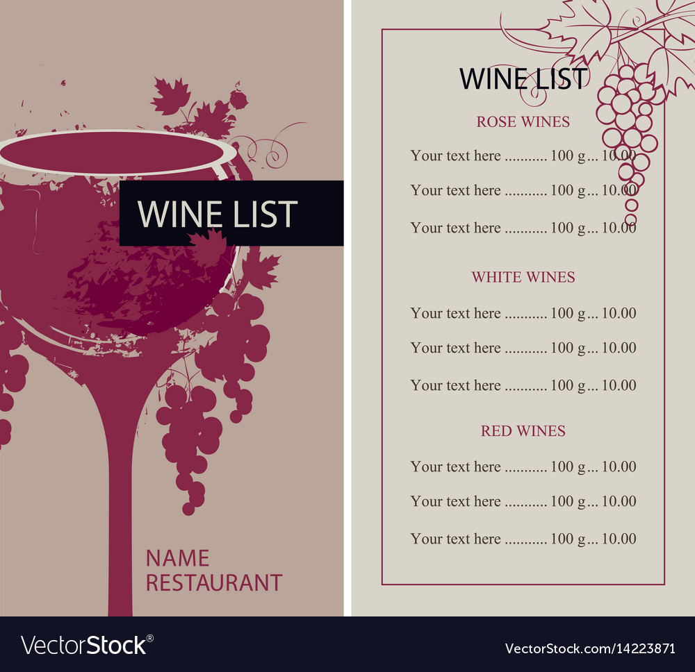 Menu for wine list with glass and grapes vector image