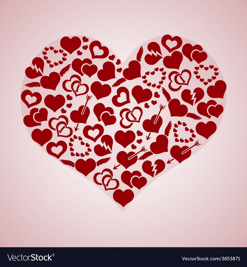 Red valentine hearth love symbols in big hearth vector image buycottarizona Gallery
