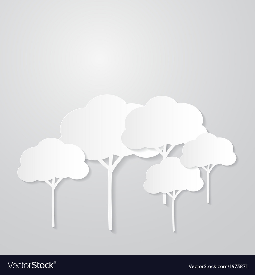 White Trees Cut From Paper on Grey Background vector image
