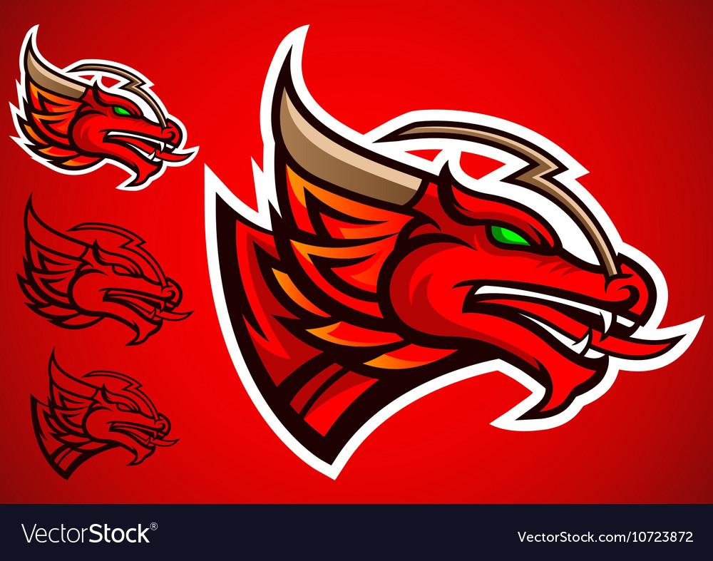 Red dragon emblem logo vector image