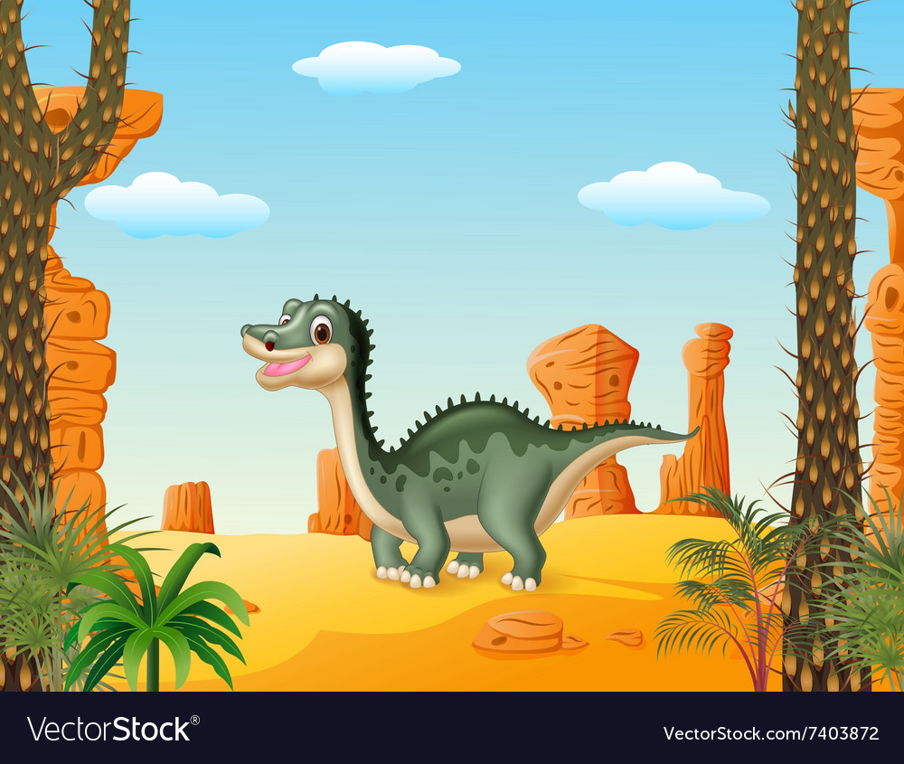 Cartoon cute dinosaur withprehistoric t background vector image