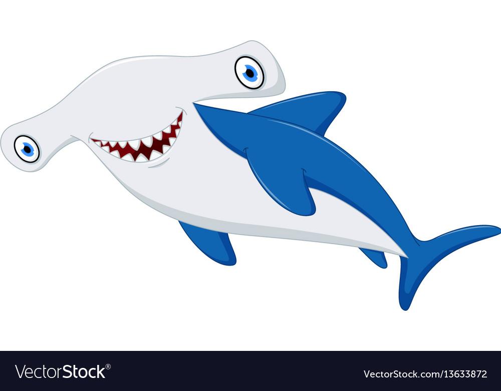Cute hammerhead shark cartoon vector image