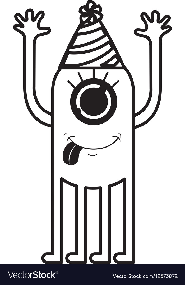 Monster Comic Character With Party Hat Royalty Free Vector