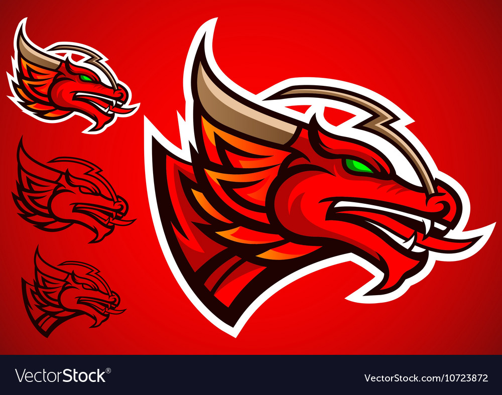 Red dragon emblem logo vector image