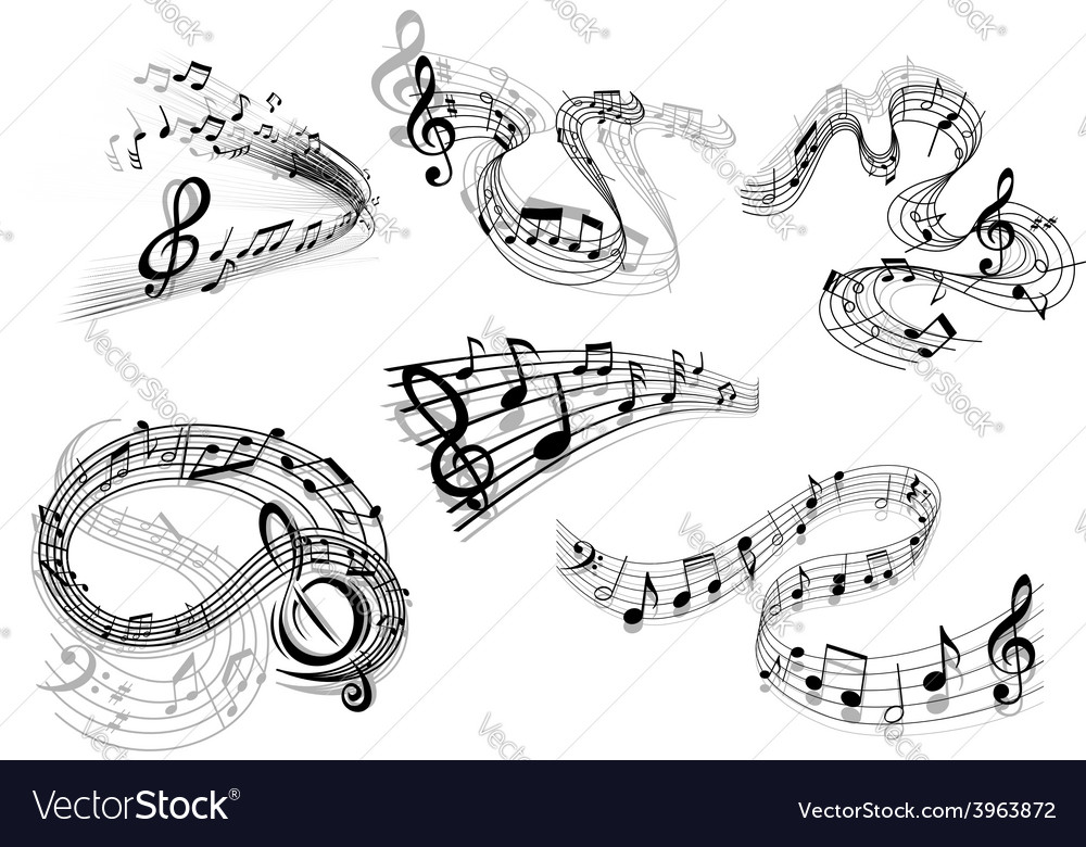 Swirling musical wave icons vector image
