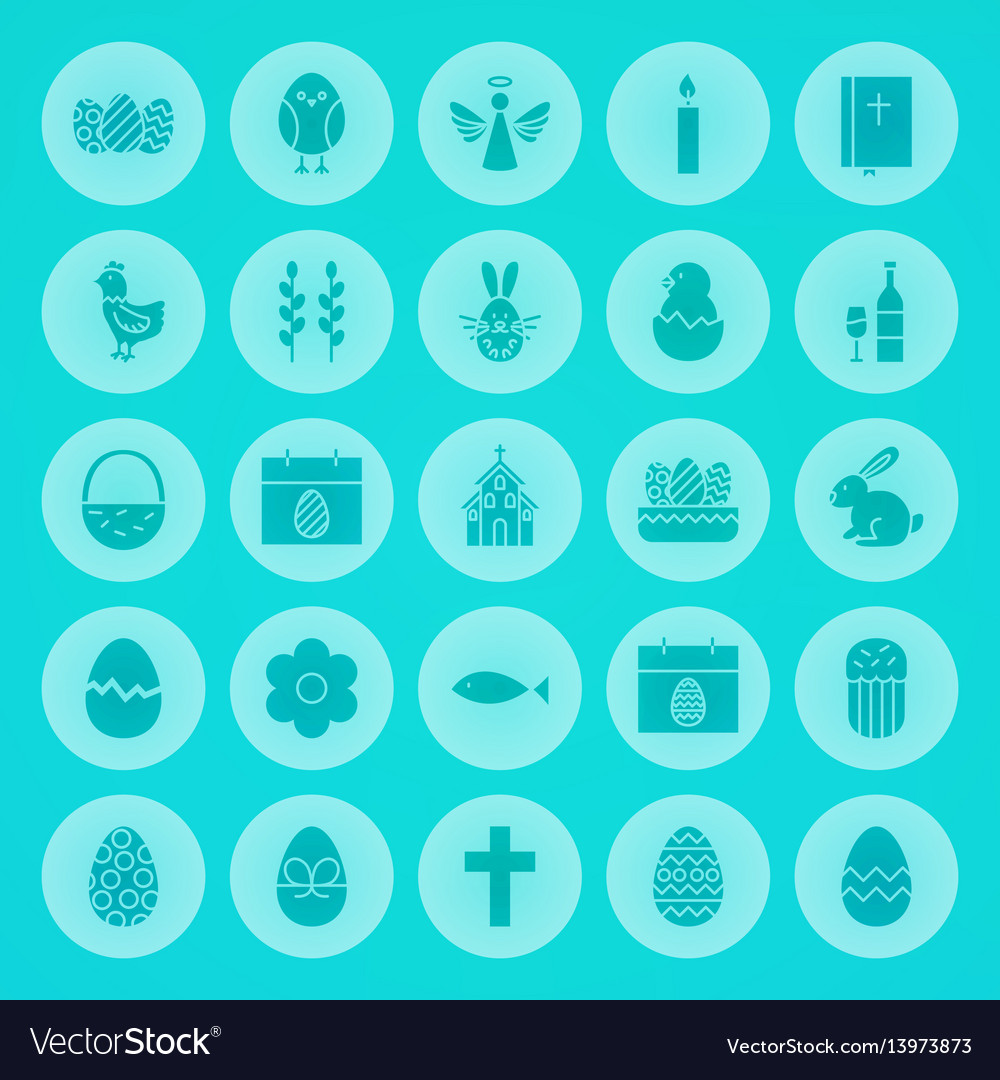 Easter solid circle icons vector image