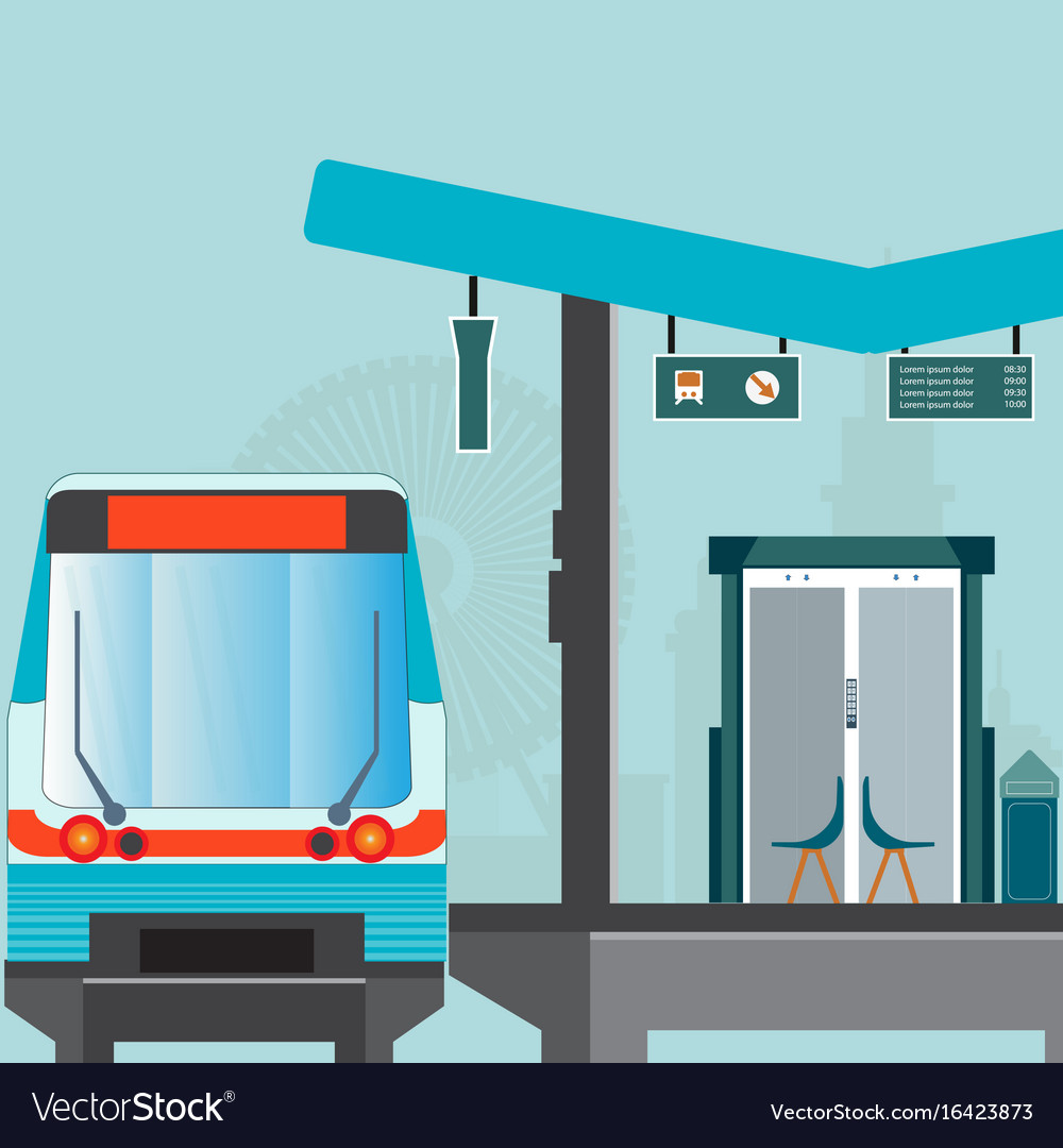 Front view of train station platform of subway or vector image