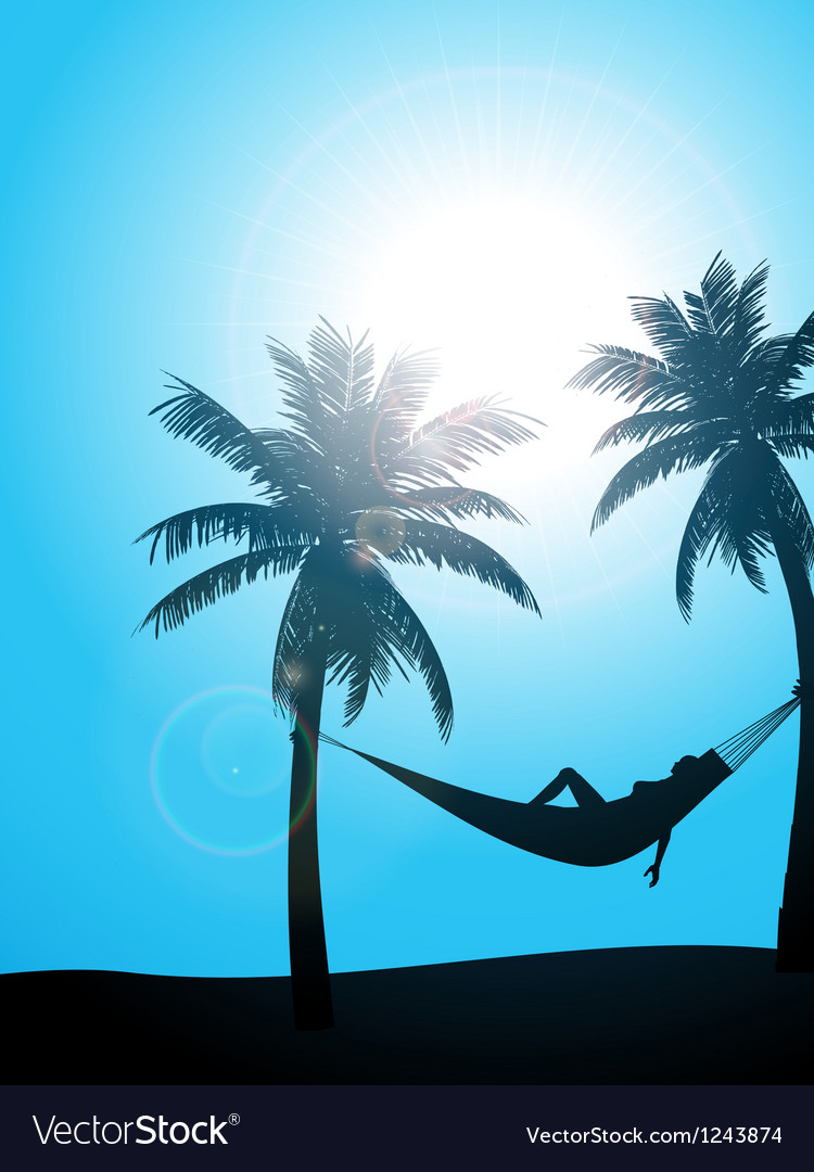 Summer sunbather silhouette vector image