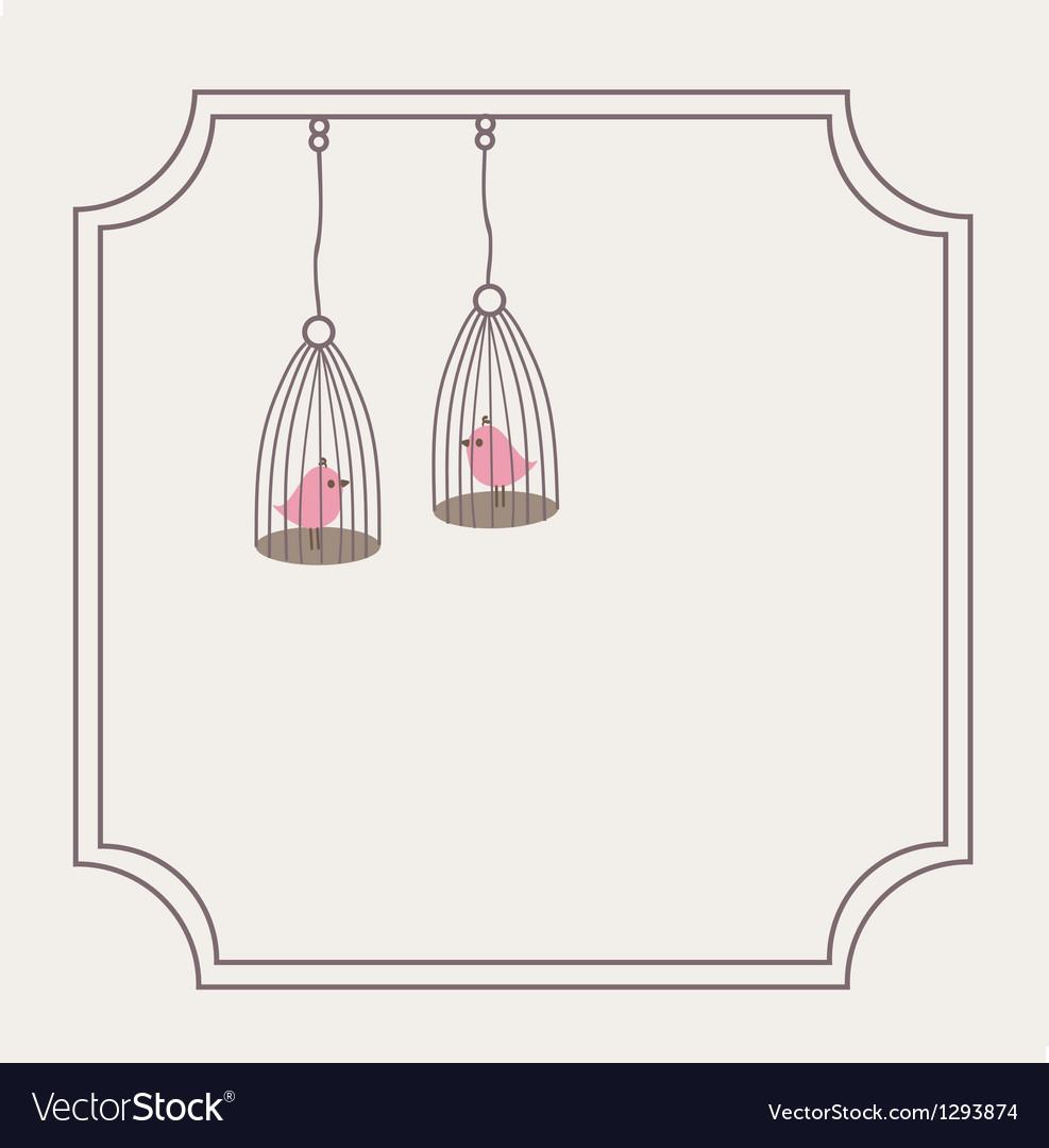Cute love birds in birdcage vector image