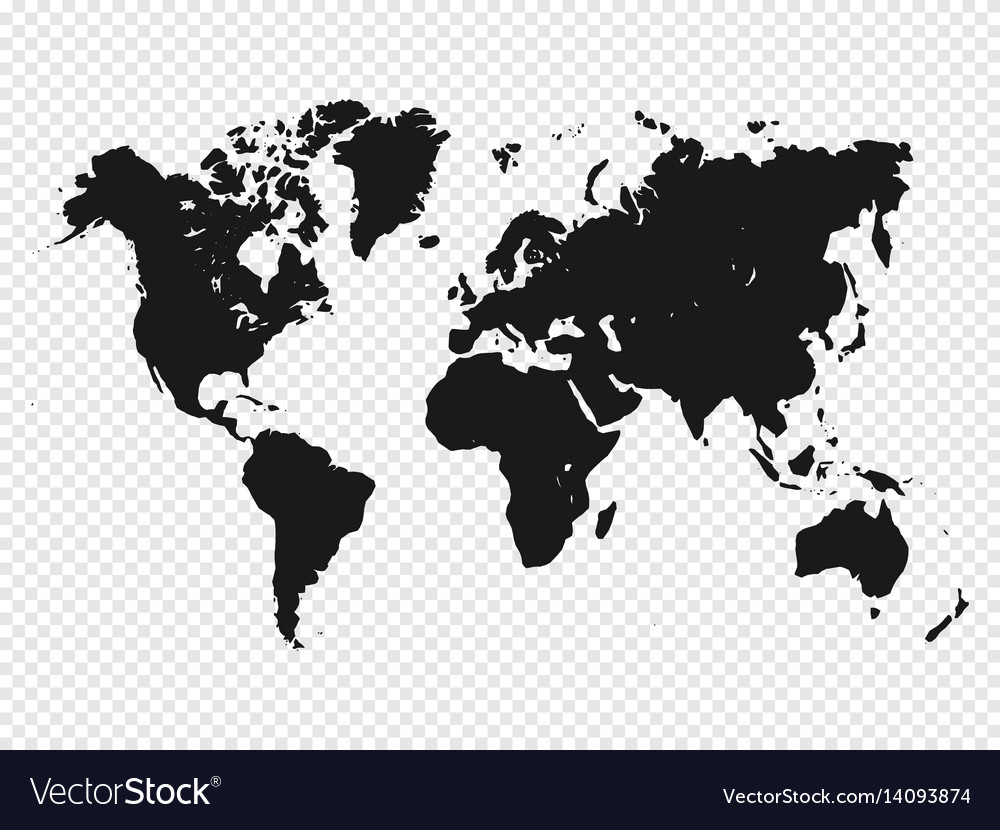Black world map silhouette on transparent vector image gumiabroncs Images