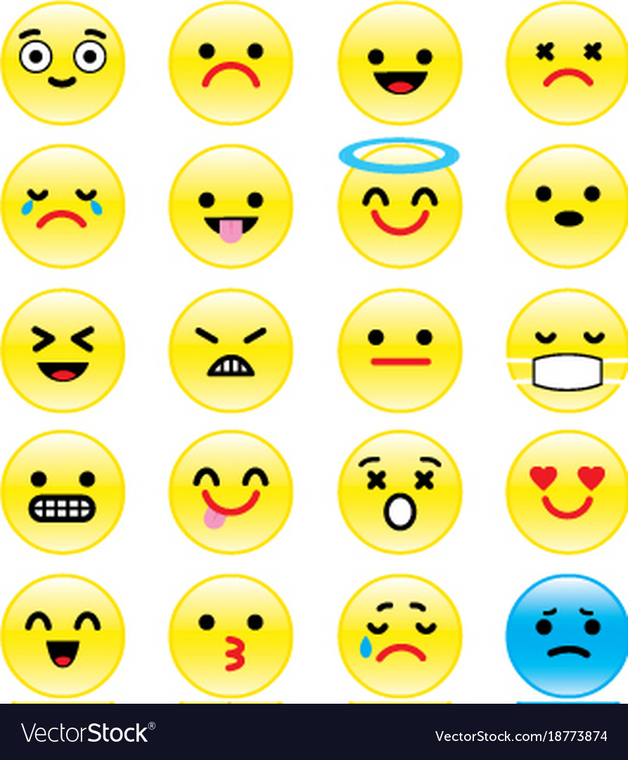 Icons of smiley faces emotion cartoon Royalty Free Vector