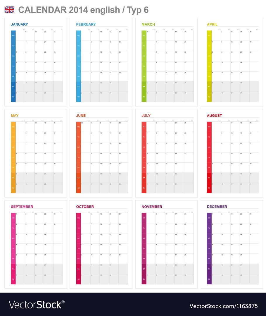 Calendar 2014 English Type 6 vector image