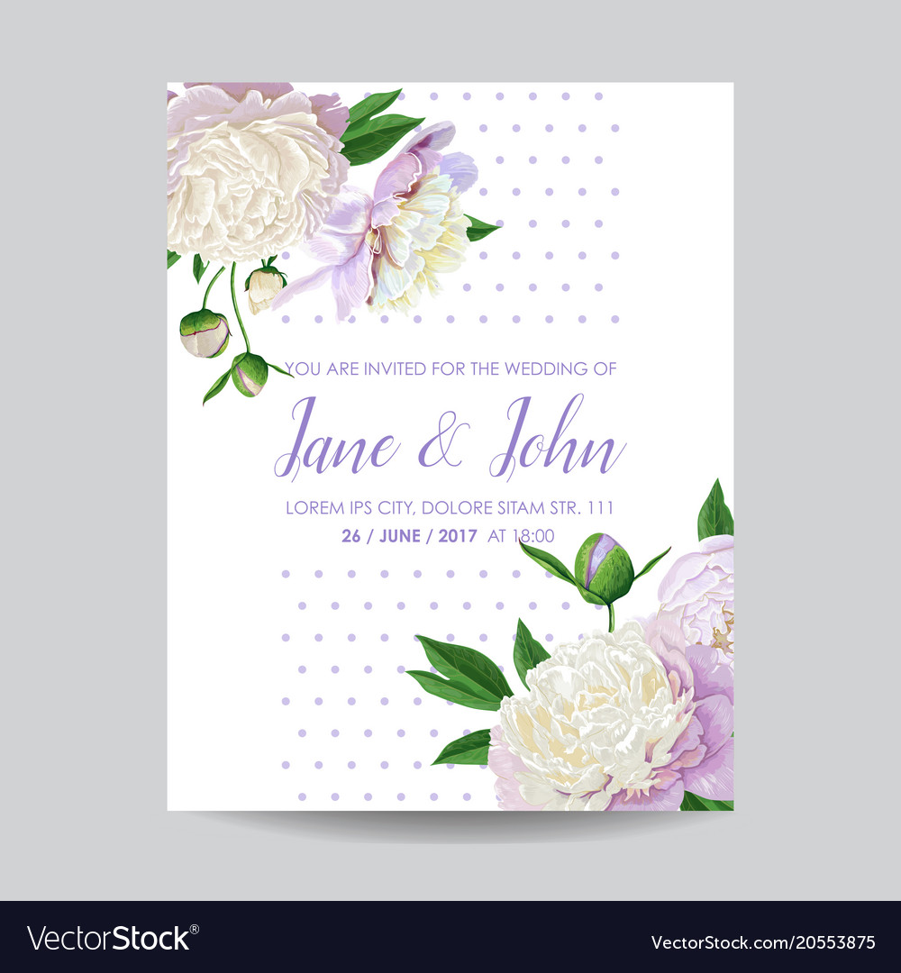 Floral wedding invitation white peony flowers vector image mightylinksfo Image collections