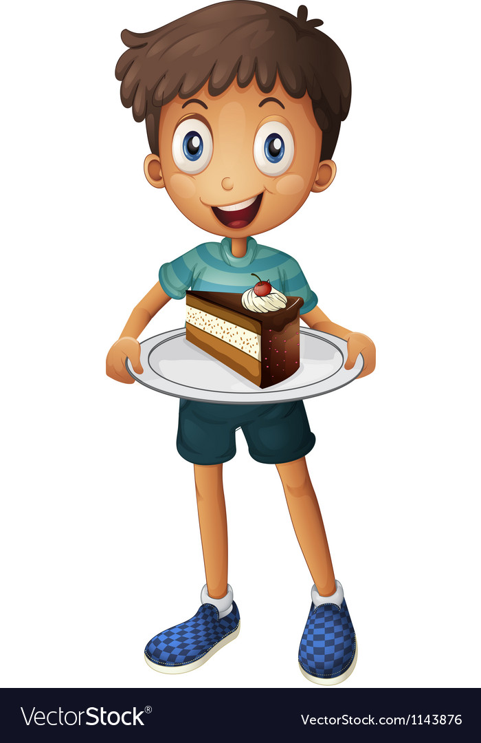 A smiling boy with cake vector image