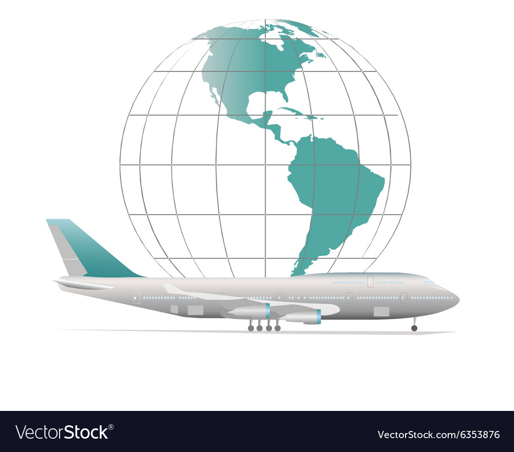 Aircraft with model of Earth vector image
