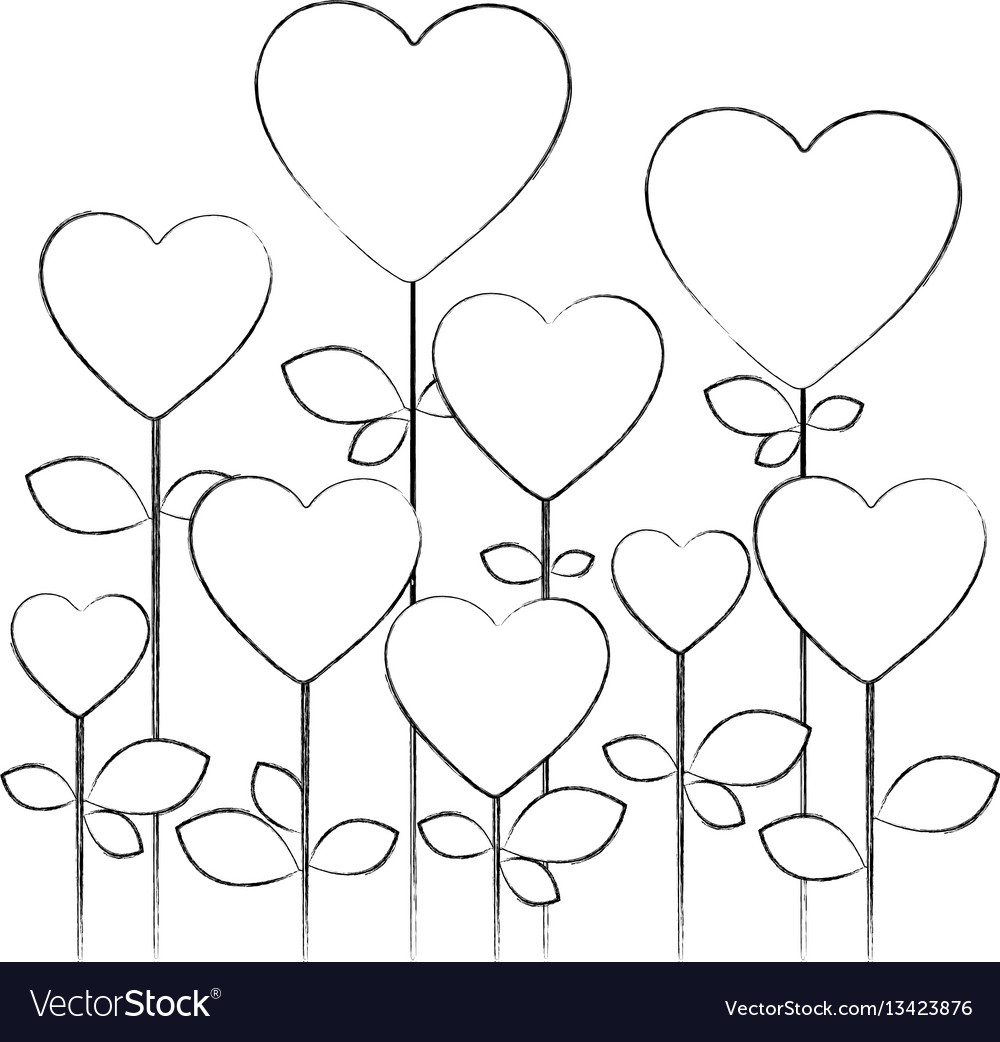 Monochrome blurred silhouette with floral vector image