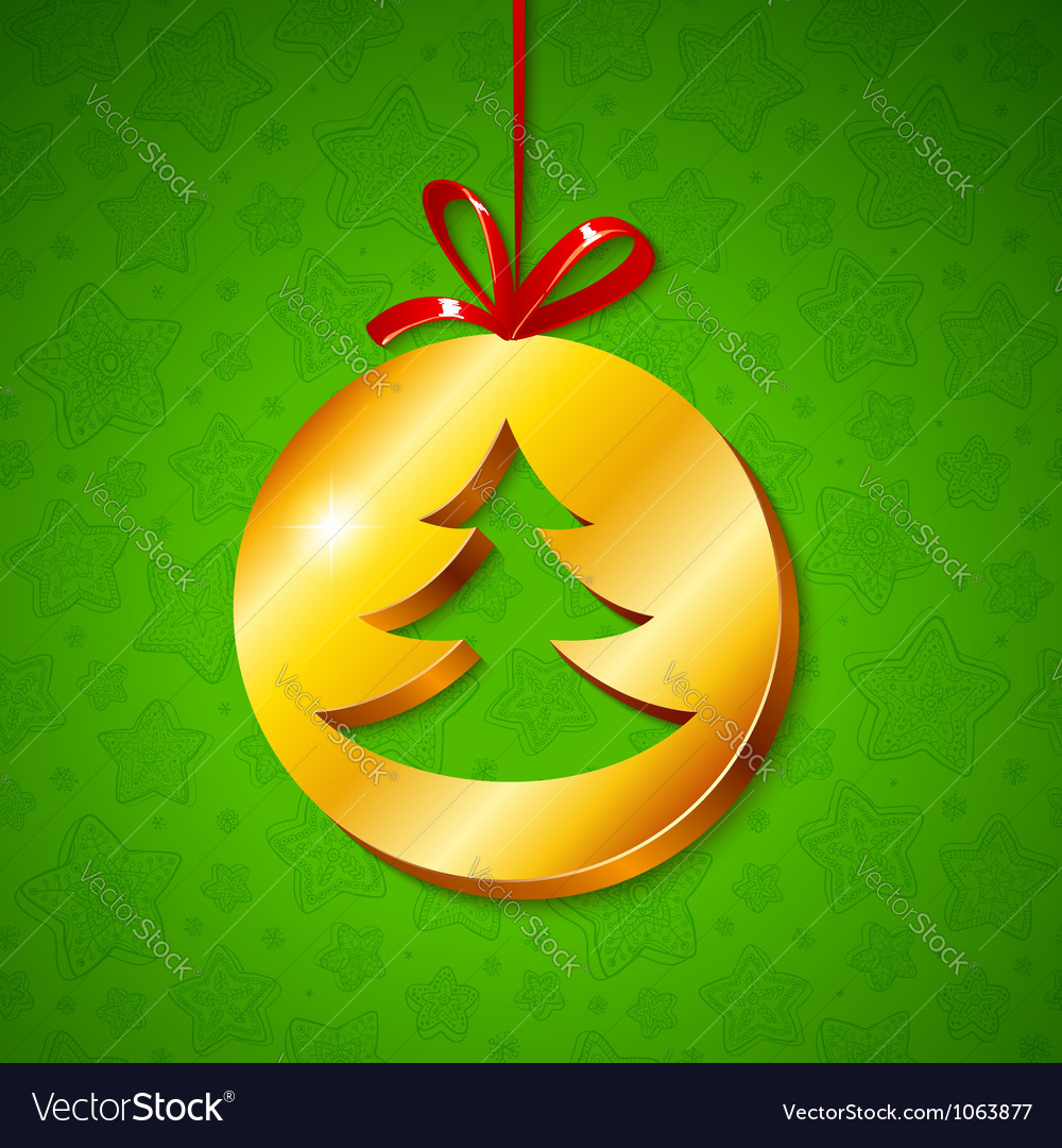Christmas tree in golden circle vector image