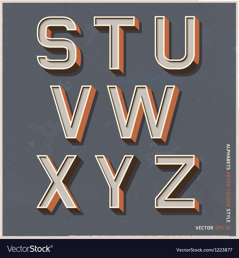 Alphabet retro color Vector Image