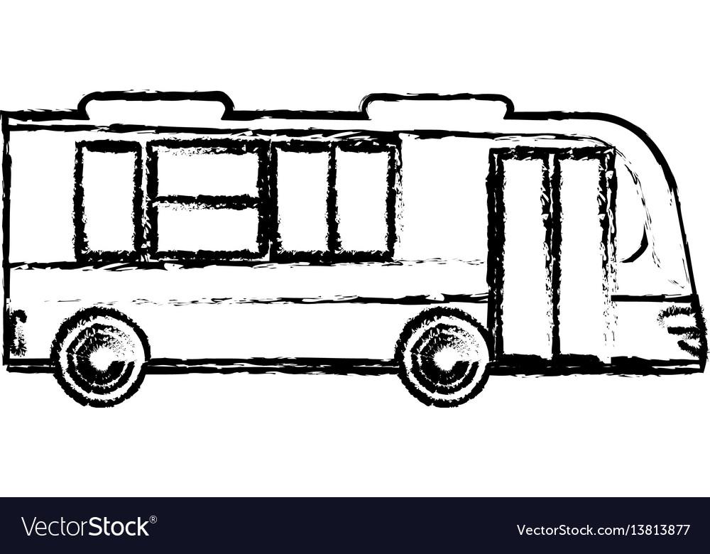 Bus business transport vehicle sketch vector image