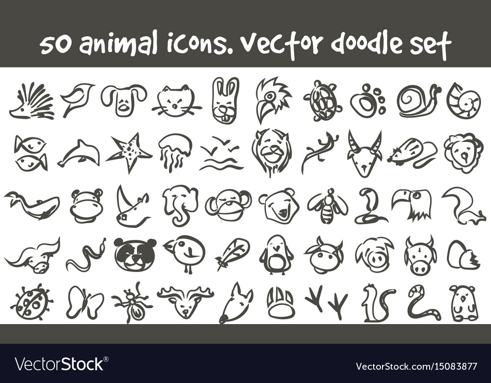 Doodle icons set vector image
