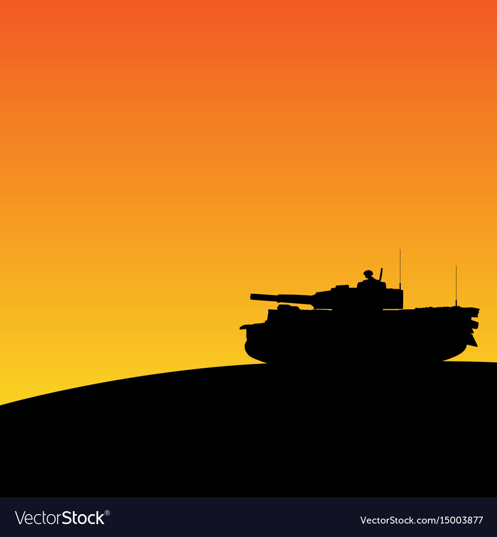Silhouette of tank in sunset vector image