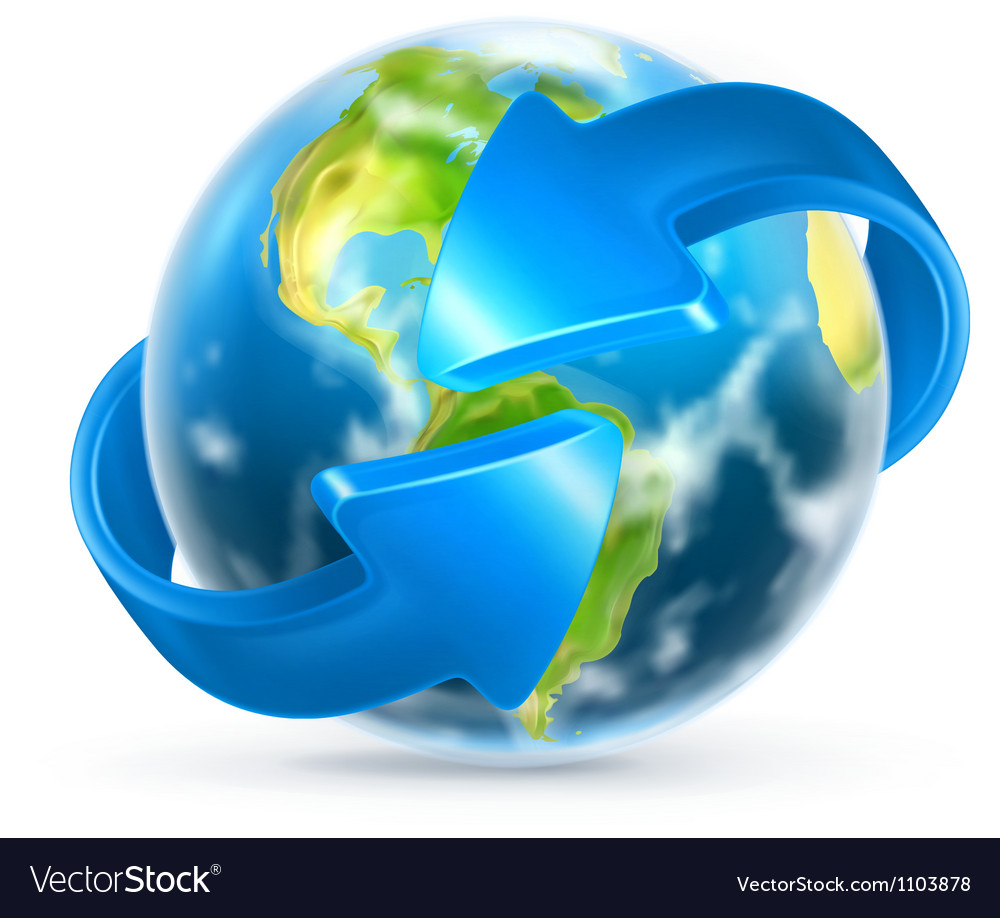 Earth and arrows vector image