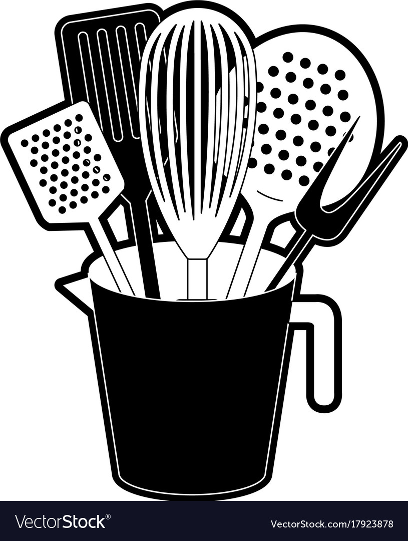 Jar with kitchen utensils black silhouette Vector Image