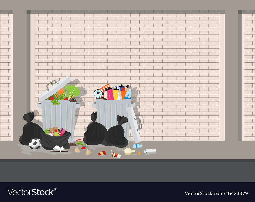 Garbage can full of overflowing trash on blick vector image