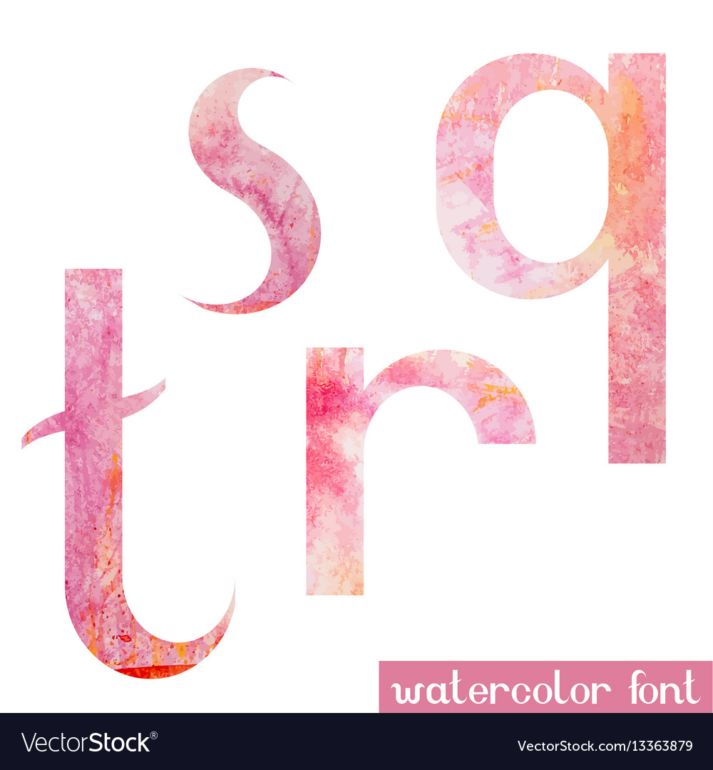 Pink spring watercolor font letters q r s t vector image