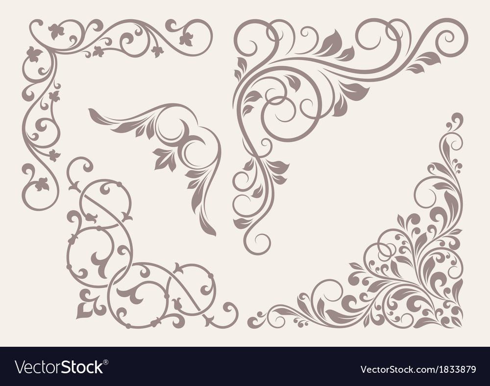 Set of corner ornaments vector image