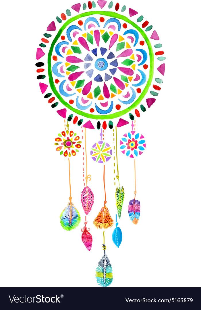 Watercolor Dreamcatcher vector image