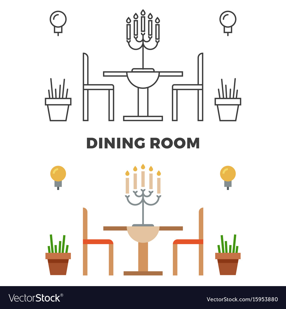 Dining room concept - flat style and line style vector image