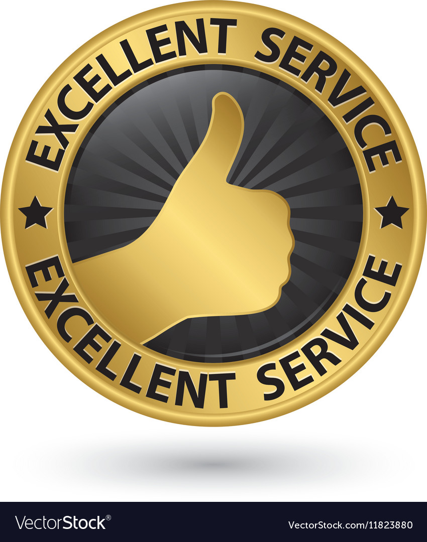 Excellent service golden sign with thumb up vector image