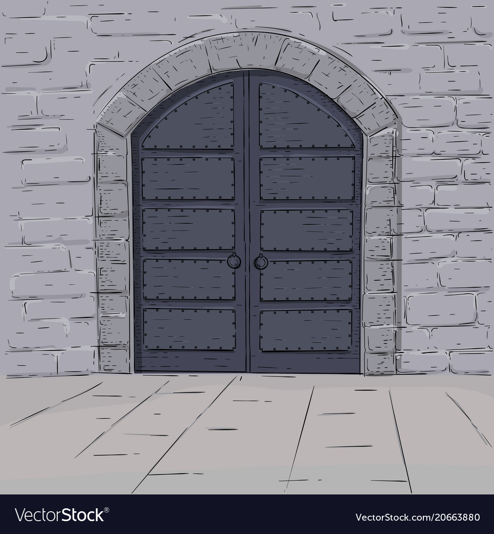 Medieval castle doors hand drawn sketch vector image & Medieval castle doors hand drawn sketch Royalty Free Vector