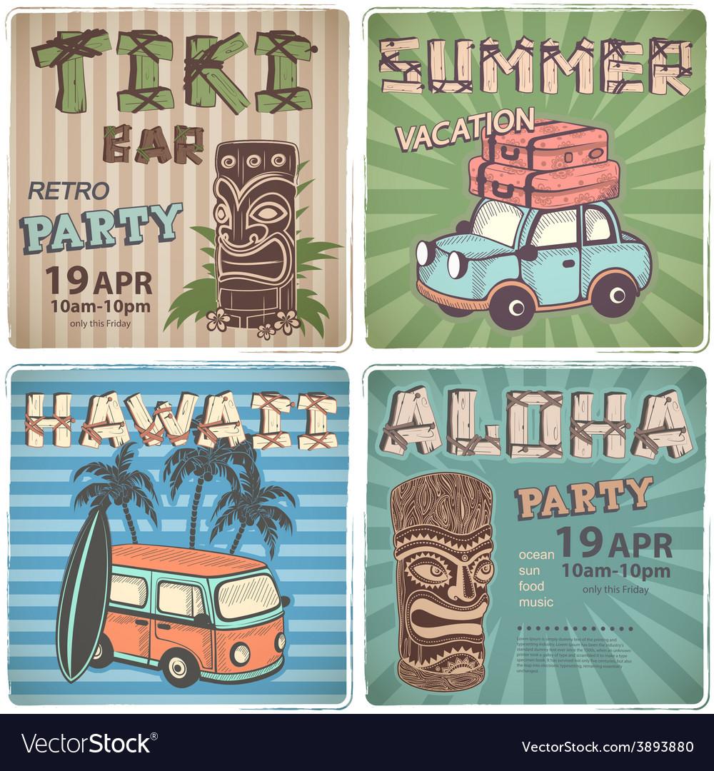Set of Retro Hawaiian banners vector image