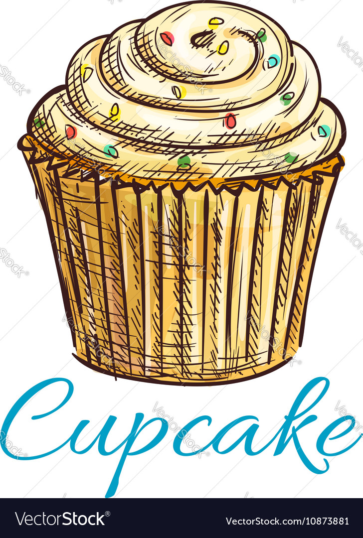 Cupcake isolated sketch with cream and sprinkles vector image