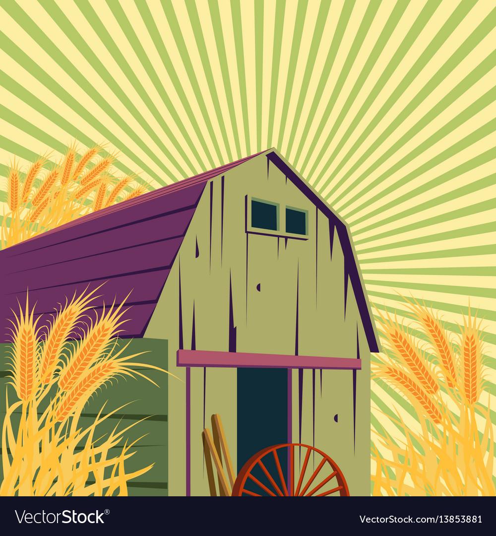 Farm rural scene vector image