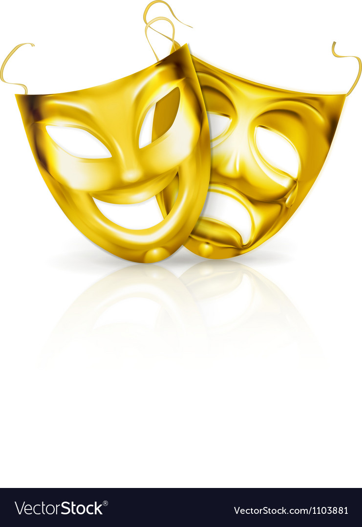 Gold theater masks vector image