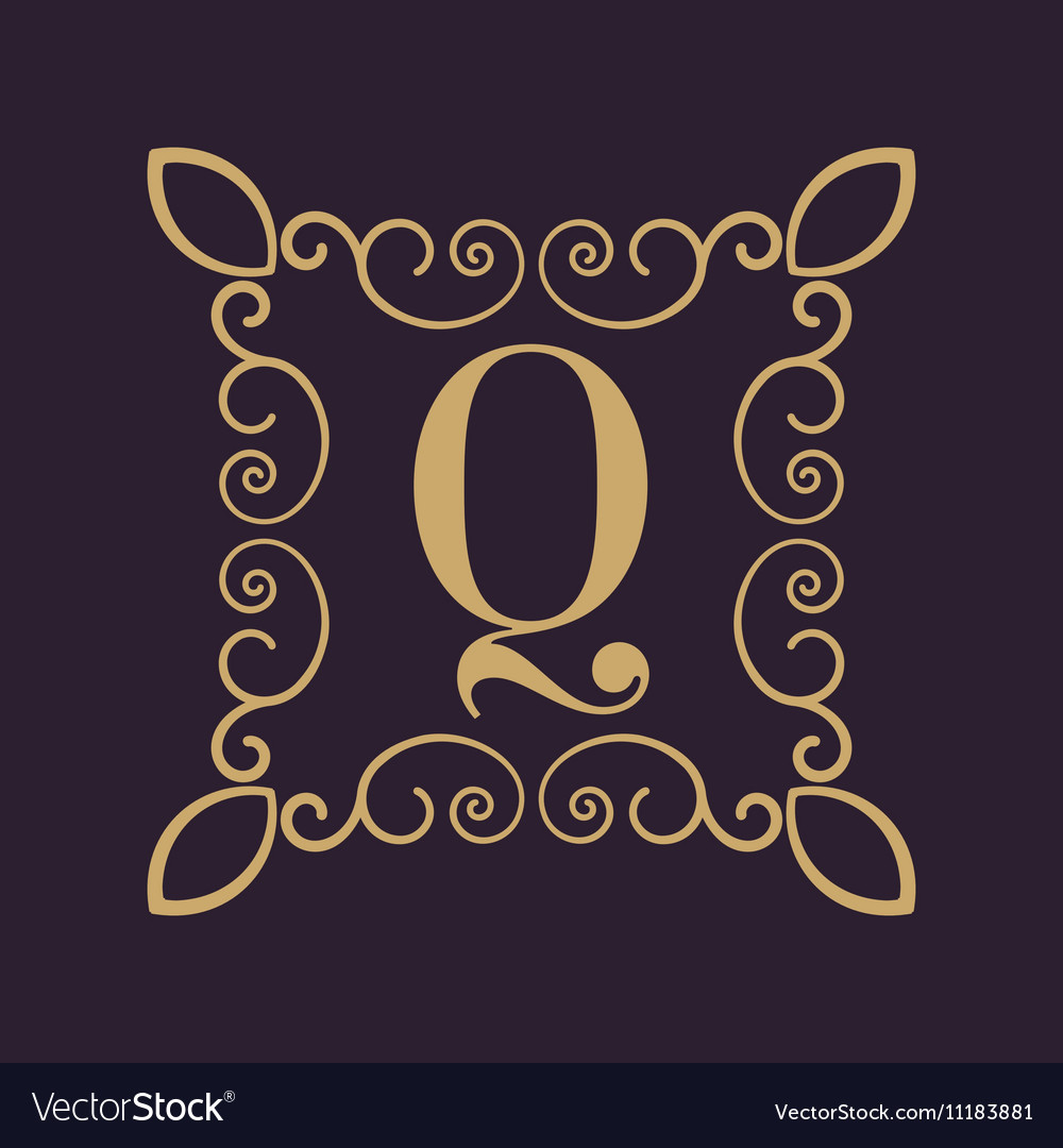 Monogram letter Q Calligraphic ornament Gold vector image