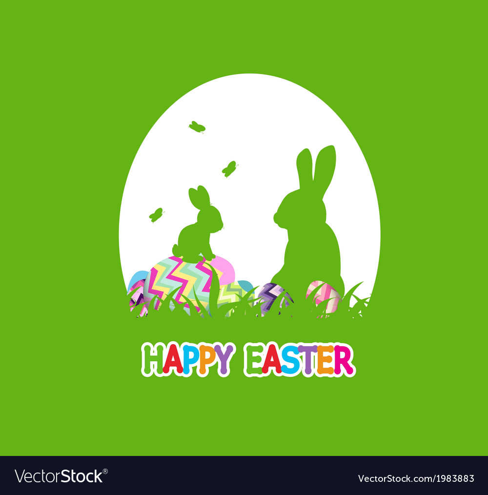 Easter eggs and happy easter vector image