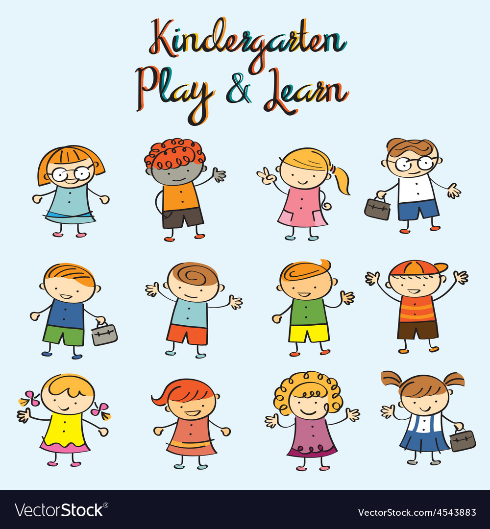 Kindergarten Kids Characters Set vector image