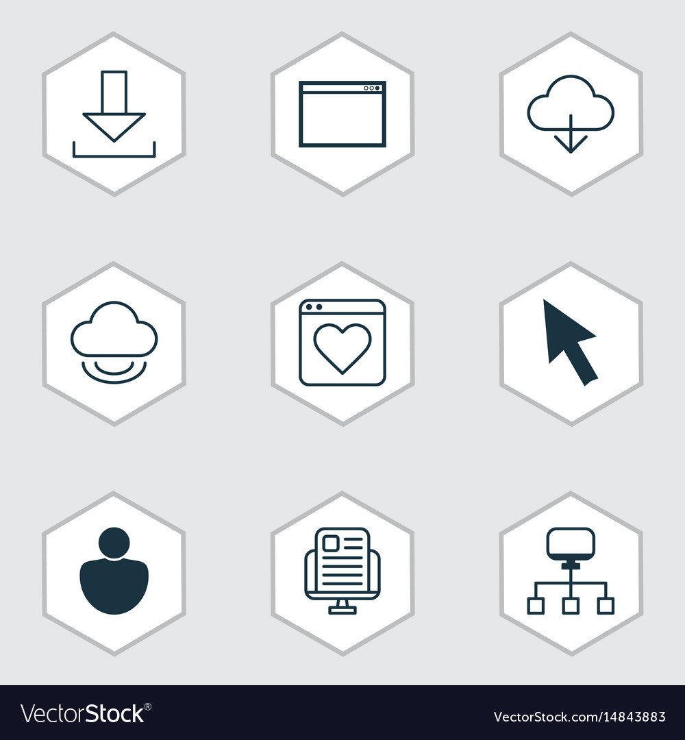 Set of 9 internet icons includes program save vector image
