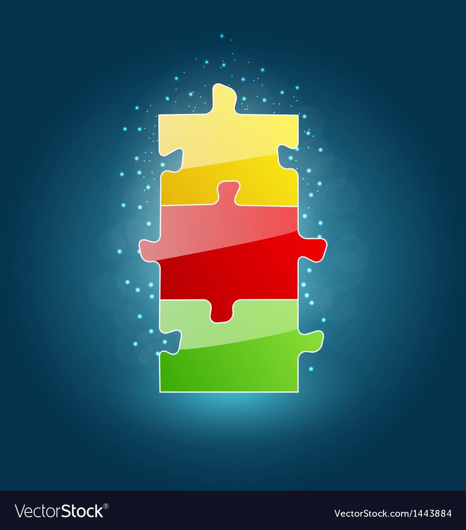 Business concept with set puzzle pieces for succes Vector Image