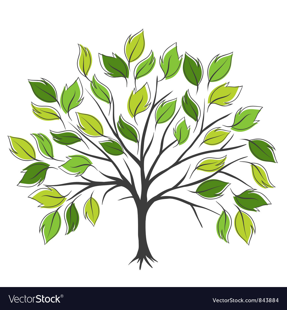 Hand draw abstract green tree Royalty Free Vector Image