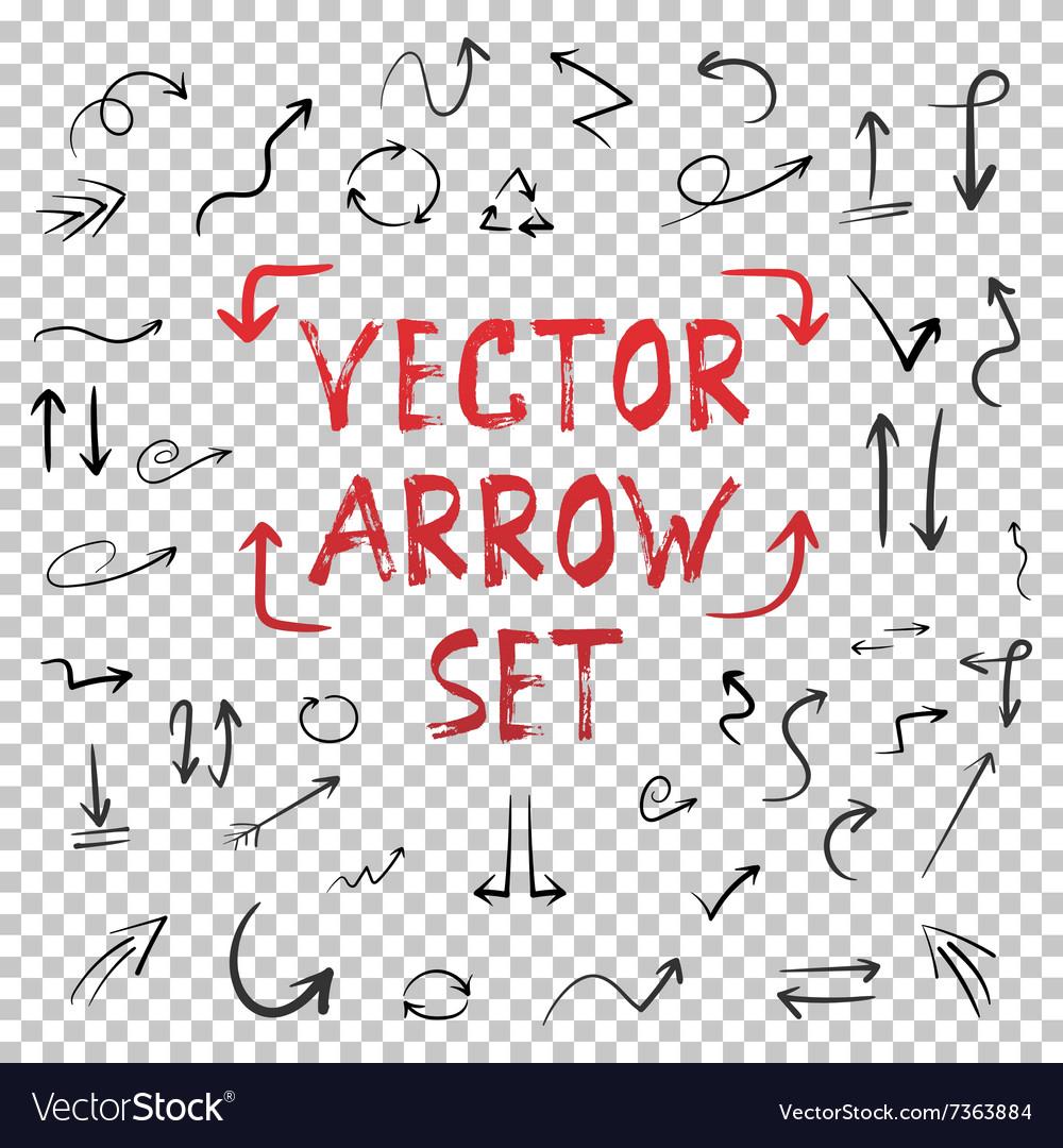 Handdrawn Handmade Arrow Set Isolated on vector image