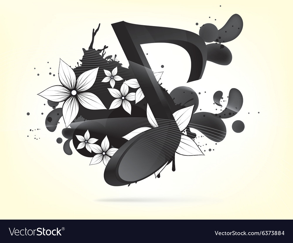 Musical background with notes and floral elements vector image