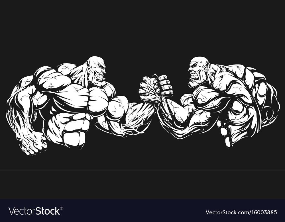 Armwrestling wrestling on hands vector image
