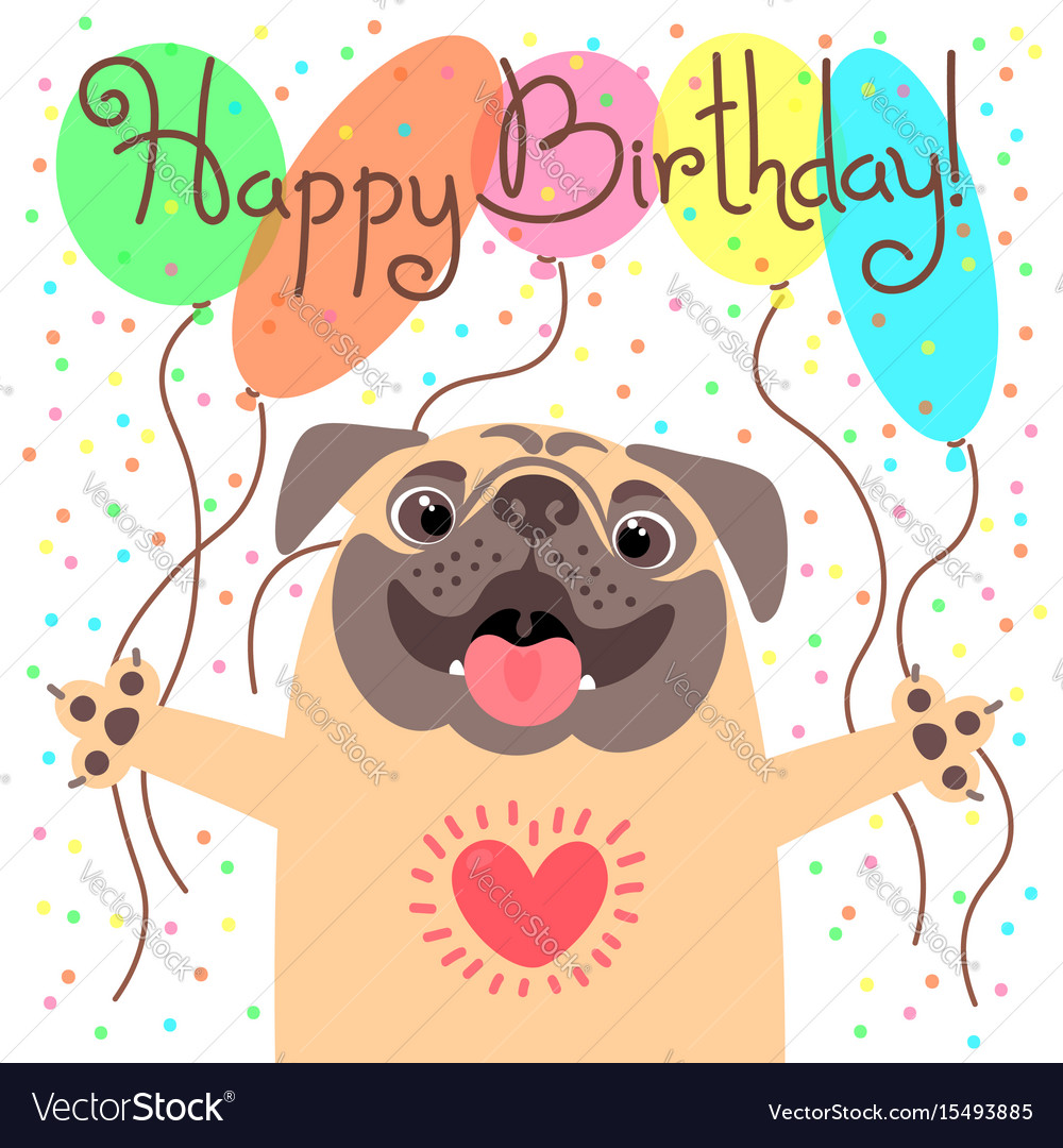 Cute happy birthday card with funny puppy loving vector image bookmarktalkfo Gallery
